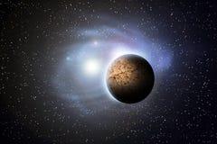 Планета над межзвёздными облаками в космосе Стоковая Фотография RF