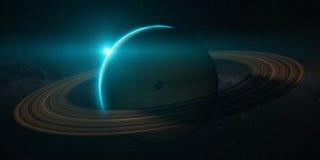 Планета Сатурн с кольцами на восходе солнца иллюстрация вектора