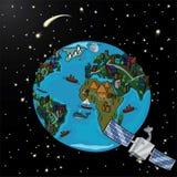 Планета с спутником и звездами в космосе Иллюстрация вектора