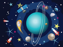 Планета Урана в космосе Стоковое Изображение