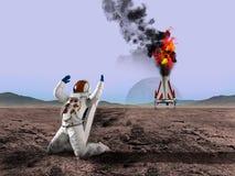 Планета чужеземца, астронавт, иллюстрация космического исследования Стоковая Фотография RF
