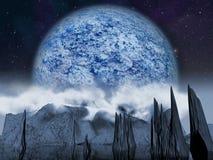 Планета чужеземца Большая голубая луна Стоковое Изображение RF