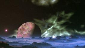 Планета чужеземца и плавая межзвёздное облако видеоматериал
