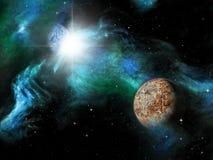 Планета чужеземца сцены космоса фантазии научной фантастики Стоковые Фото
