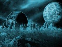 Планета чужеземца сцены космоса фантазии научной фантастики Стоковые Изображения RF