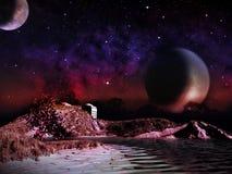 Планета чужеземца 2 луны на подъеме ночи Стоковое Фото
