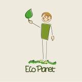Планета eco мальчика Стоковое Изображение