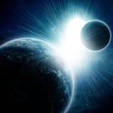 2 планеты в космосе иллюстрация вектора