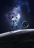 Планеты над межзвёздными облаками в космосе Стоковая Фотография