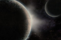 Планеты над межзвёздным облаком Стоковое фото RF