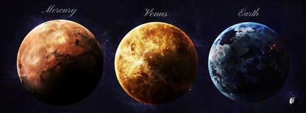 Планеты солнечной системы снятые от показа космоса стоковая фотография rf