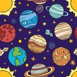 Планеты солнечной системы также вектор иллюстрации притяжки corel Стоковое Изображение