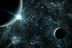 2 планеты с восходом солнца иллюстрация вектора