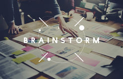 Планирование встречи метода мозгового штурма бредовой мысли думая деля Conce стоковое изображение rf