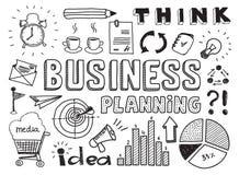 Планированиe бизнеса doodles элементы Стоковое Изображение