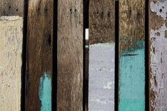 Планки предпосылки старые деревянные покрашены с пестротканой краской Стоковое фото RF