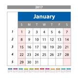 Плановик календаря на 2017 год Шаблон дизайна с местом для фото и примечаний январь Неделя начинает вектор воскресенья иллюстрация штока