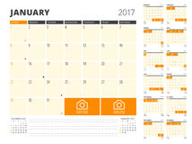 Плановик календаря на 2017 год Стоковые Фотографии RF