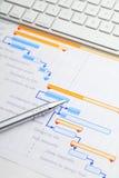 Планово-контрольный график с клавиатурой и ручкой Стоковое Изображение RF