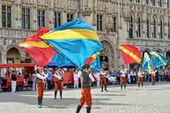 Плантация церемонии Meyboom на грандиозном месте, Брюсселе Стоковые Фотографии RF