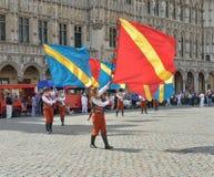 Плантация церемонии Meyboom на грандиозном месте, Брюсселе Стоковая Фотография