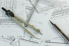 Планы и оборудование чертежа Стоковое Изображение RF
