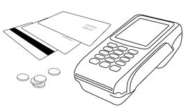 Планы стержня POS, кредитных карточек и немногих монеток Стоковая Фотография