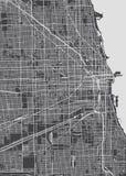 План города Чикаго, детальная карта вектора Стоковые Фото