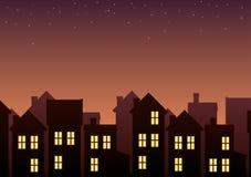 План городка в сумерк Стоковое Изображение