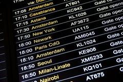 План-график данным по полета отклонений в международном аэропорте Стоковые Изображения