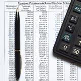 План-график изнашиваемости оплат на кредите стоковая фотография