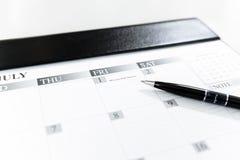 План-график 1-ое июля календаря - праздник банка середины года, Таиланд Стоковые Изображения