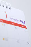 План-график пробела календаря настольного компьютера 1-ое января 2017 Стоковые Изображения RF