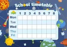 план-график расписание школы на теме космоса и галактики Стоковая Фотография