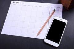 План-график smartphone и плановика пустого экрана Стоковые Фотографии RF