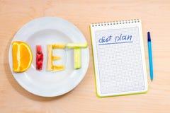 план диетпитания Стоковая Фотография RF