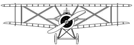 План изолированный самолет-бипланом иллюстрация штока