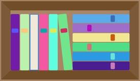 План книжных полок вектора плоский красочный Стоковое фото RF