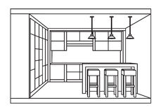 План кухни внутренний с баром завтрака Изолированный вектор Стоковое Изображение RF