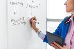 План дня сочинительства коммерсантки на белой доске, современном офисе Взгляд со стороны кавказского женского план-графика планир Стоковые Изображения