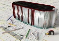 План дома и архитектурноакустические чертежи Стоковые Изображения RF