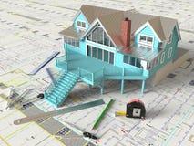План дома и архитектурноакустические чертежи Стоковое Изображение