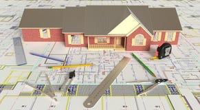 План дома и архитектурноакустические чертежи Стоковые Изображения