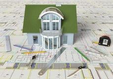 План дома и архитектурноакустические чертежи Стоковое фото RF
