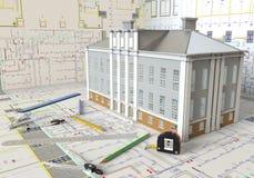 План дома и архитектурноакустические чертежи Стоковые Фотографии RF
