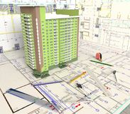 План дома и архитектурноакустические чертежи Стоковое Фото