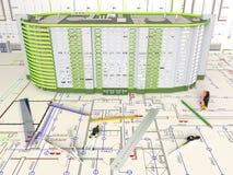 План дома и архитектурноакустические чертежи Стоковое Изображение RF