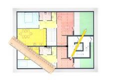 План дома на белой предпосылке Стоковое Фото