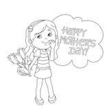 План страницы расцветки девушки с цветками мать s дня Стоковые Изображения RF