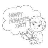 План страницы расцветки мальчика с цветками мать s дня Стоковая Фотография